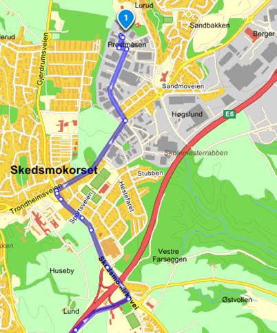 Kart fra Oslo til Industriveien 33