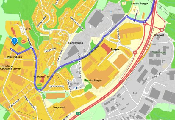 Kart fra Gardermoen til Industriveien 33